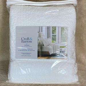 $200 Croft /&Barrow Sarah Coastal Shells-Palm-Twin King//Cal or F//Queen Quilt/&Sham